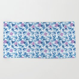 Ipomea Flower_ Morning Glory Floral Pattern Beach Towel