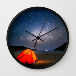 camping with the milky way Wall Clock