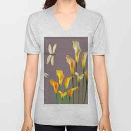 GOLD CALLA LILIES & DRAGONFLIES ON GREY Unisex V-Neck