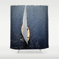 sailboat Shower Curtains featuring big sailboat  by laika in cosmos
