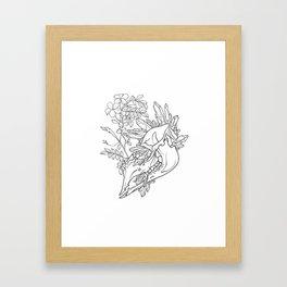 Horses, roses, and gems skull outline illustration Framed Art Print