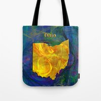 ohio Tote Bags featuring Ohio Map by Roger Wedegis
