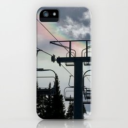 4 Seat Chair Lift Rainbow Sky \\ The Mountain Sun Rays \\ Spring Skiing Colorado Winter Snow Sports iPhone Case