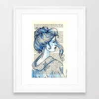 geisha Framed Art Prints featuring Geisha by Karen Hallion Illustrations
