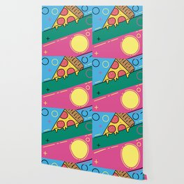 80s Pizza Party Wallpaper