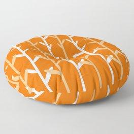 Oat Field Leafy Orange Pattern Floor Pillow