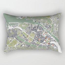 Copenhagen city map engraving Rectangular Pillow