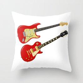 Red Elecric Guitars Throw Pillow