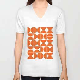 Mid Century Modern Geometric 04 Orange Unisex V-Neck