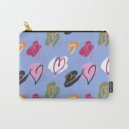 Painted Hearts Sketch Pattern in Colorful Carry-All Pouch