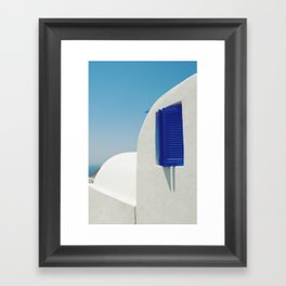 Santorini Blue & White Window Framed Art Print