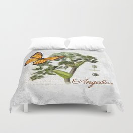 Cottage style Angelica Herb, Dragonfly vintage style botanical painting Duvet Cover
