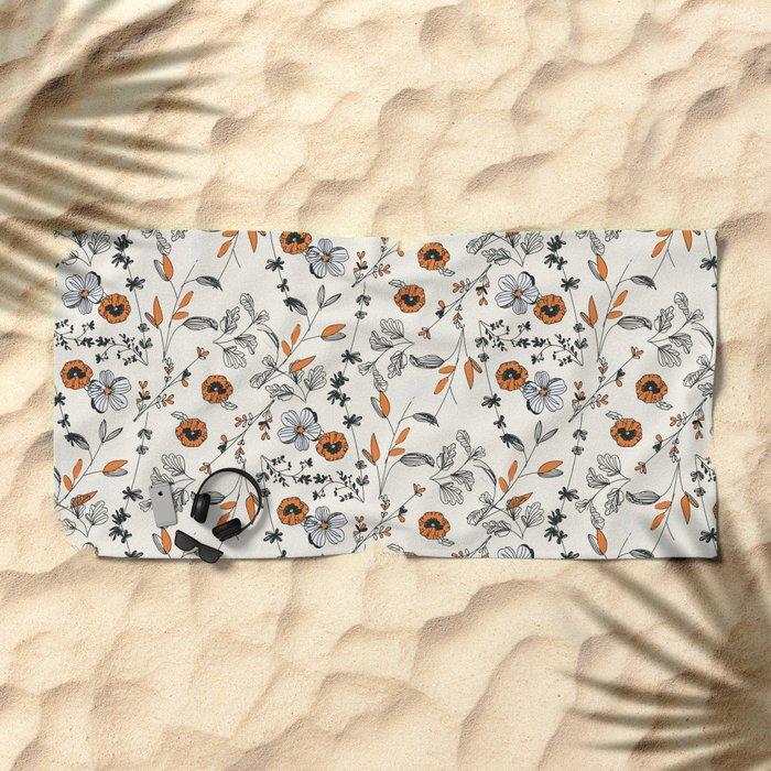 Floral pattern Flowers Beach Towel