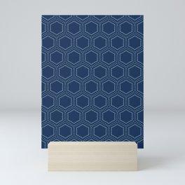 Indigo blue hexagon sashiko style japanese embroidery pattern. Mini Art Print