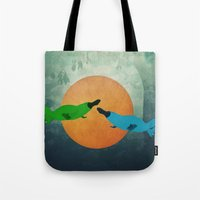 platypus Tote Bags featuring Platypus Love by Cody Weber