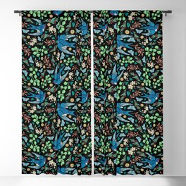 Blue Swifts and Butterflies In The Garden Blackout Curtain