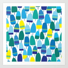 Blue Lobster Buoy Pattern Art Print