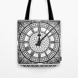 Big Ben, Clock Face, Intricate Vintage Timepiece Watch Tote Bag