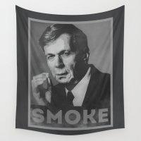 obama Wall Tapestries featuring Smoke! Funny Obama Hope Parody (Smoking Man)  by badbugs_art