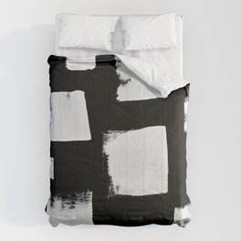 Marshmallows: a minimal abstract black and white square mudcloth pattern by Alyssa Hamilton Art Comforters