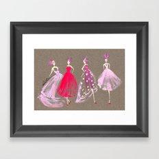Showroom Girls Gouache Fashion Illustration Framed Art Print