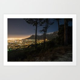 Cape Town city and Table Mountain at night Art Print