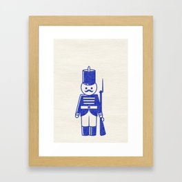 French toy soldier with shotgun, drawing with letterpress effect. Framed Art Print