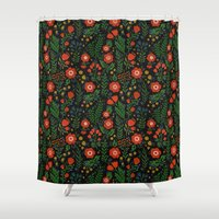 russian Shower Curtains featuring Russian flowers by A.Vogler