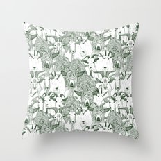 just goats dark green Throw Pillow