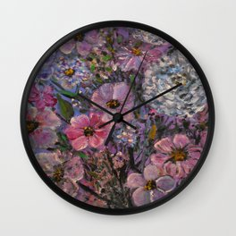 She wanted Pink and Purple Posies Wall Clock