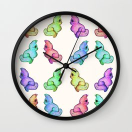 The Various Hues of Grapefruit Cat Wall Clock