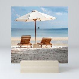 Beside Umbrella Near Seashore Mini Art Print