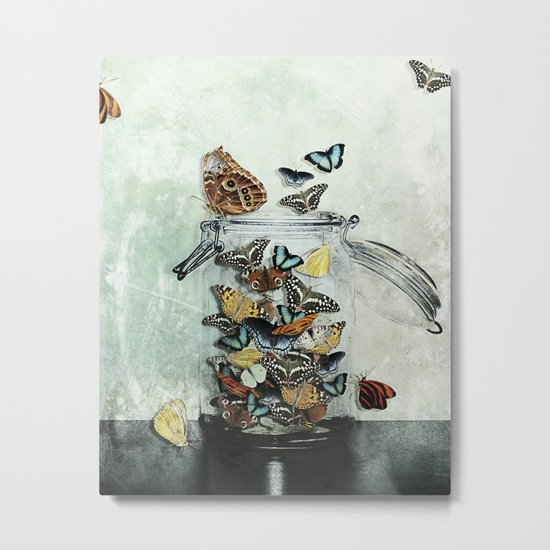 Butterfly Jar Metal Print