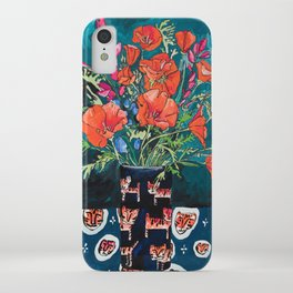 California Poppy and Wildflower Bouquet on Emerald with Tigers Still Life Painting iPhone Case