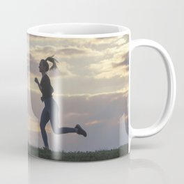 Running woman morning workout. Female Runner. Jogging during sunrise. Workout in a Park. Sporty Coffee Mug