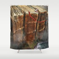 verse Shower Curtains featuring Cliffhanger by Aimee Stewart