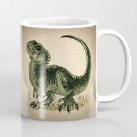 trex Mugs featuring Baby T-Rex by River Dragon Art