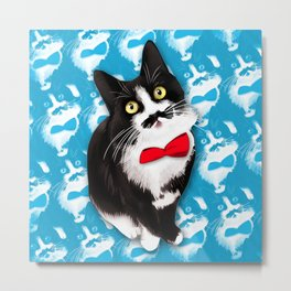 Muppet the Moustached Cat Metal Print