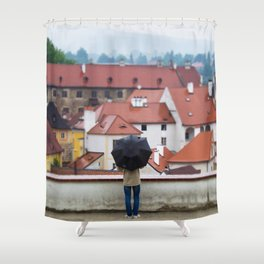 Man with Black Umbrella Shower Curtain