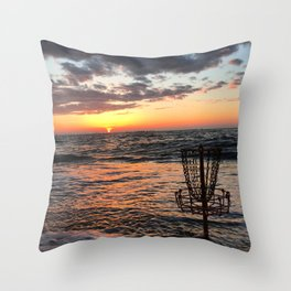 Disc Golf Basket Beach Ocean Innova Discraft Sunset Waves Virginia Vibram Throw Pillow