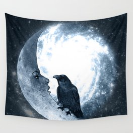 The crow and its Moon. (bcn art version) Wall Tapestry