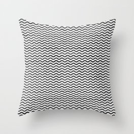 Geometrical hand painted watercolor black chevron Throw Pillow