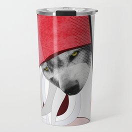 Wolf in little red riding hoods clothes Travel Mug