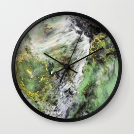 Emerald Green Marble with Gold Wall Clock