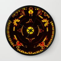 drums Wall Clocks featuring Gods Drums by Underground Artiste