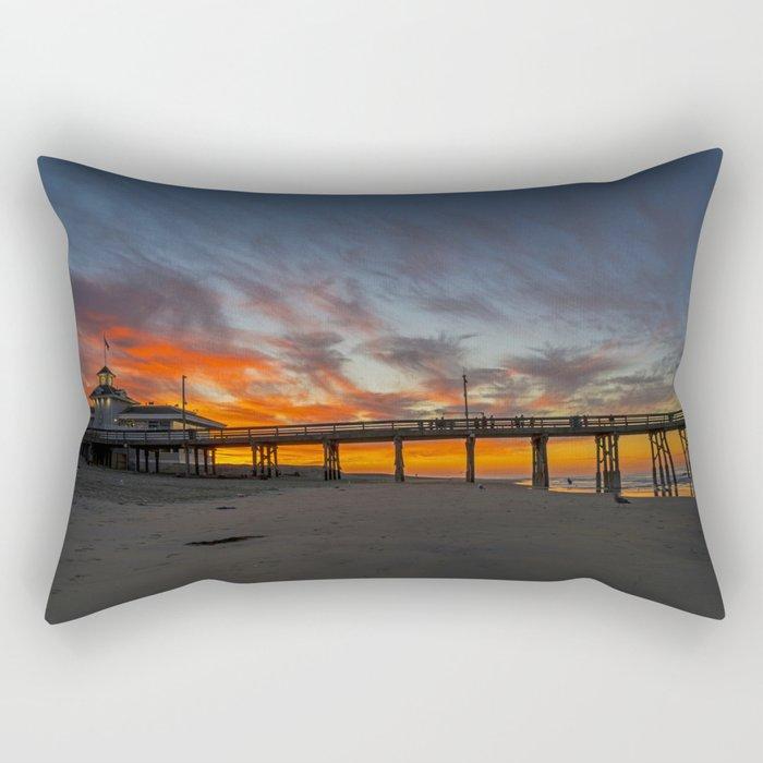 Pre Sunrise at Newport Pier Rectangular Pillow