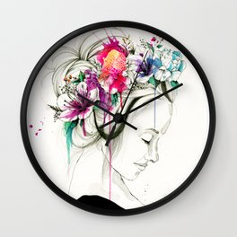 flowers in your hair Wall Clock