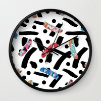 skate Wall Clocks featuring Skate by Lara Gurney