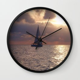 Yacht At Dusk Wall Clock