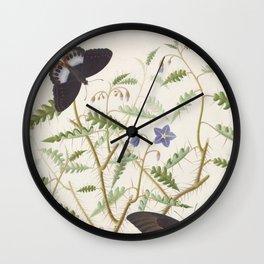 Butterflies and Ferns Wall Clock